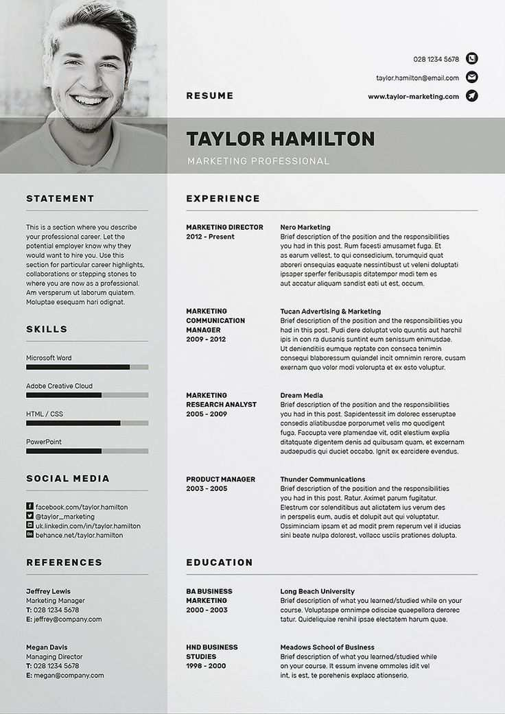 Cv Template Resume Resumeexamples Resumetemplates