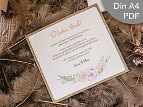 Danksagungskarte Pdf Printable Hochzeit Dankes Karte Download