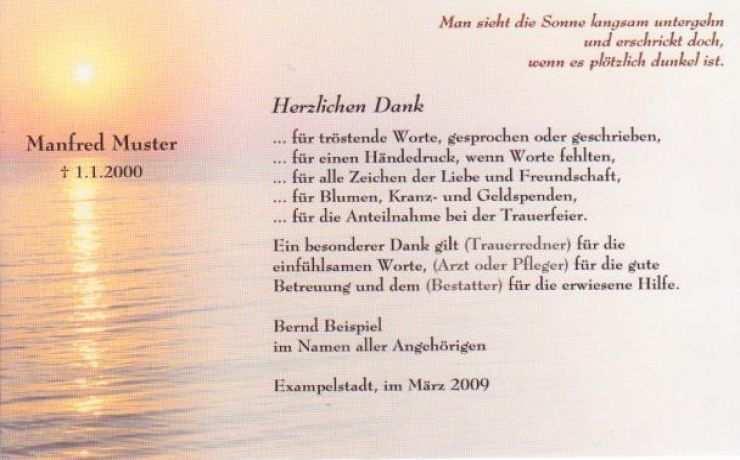 Dankeskarte Beerdigung Sonnenuntergang Trauer Danksagungen Trauer Trauer Danke Sagen