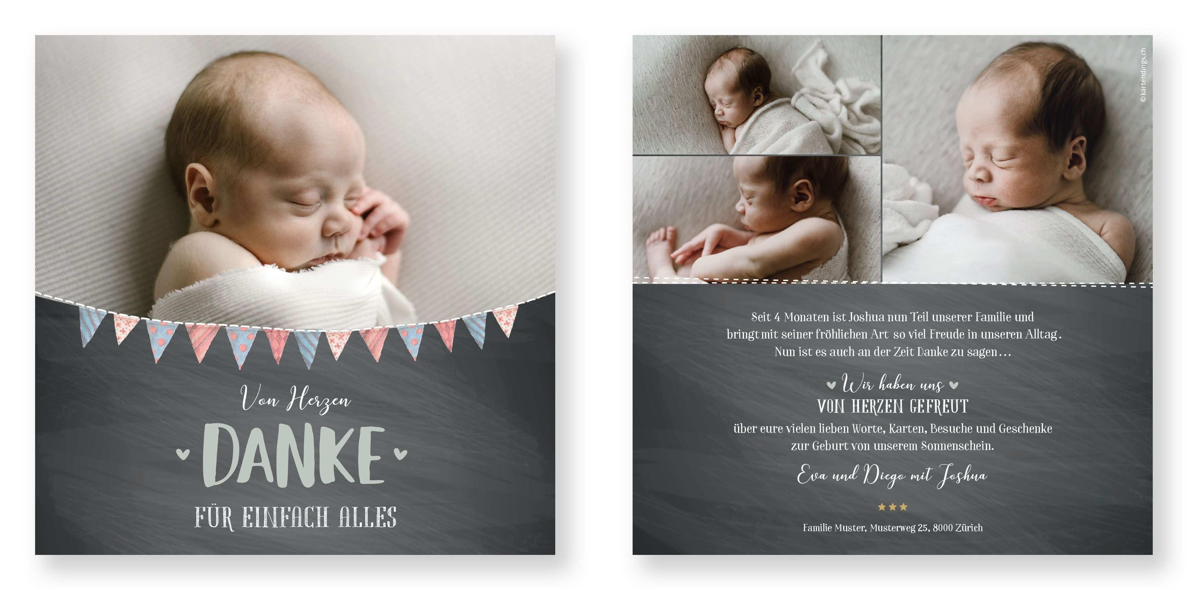 Dankeskarte Joshua Baby Dankeskarten Danke Karte Dankeskarten