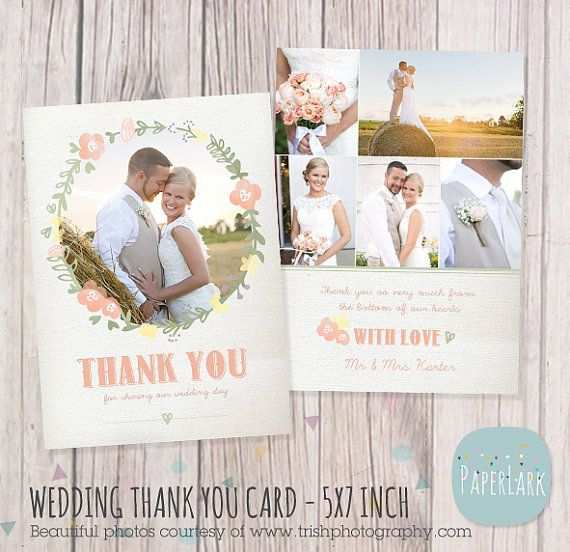 Hochzeit Danke Karte Photoshop Vorlage Aw014 Von Paperlarkdesigns