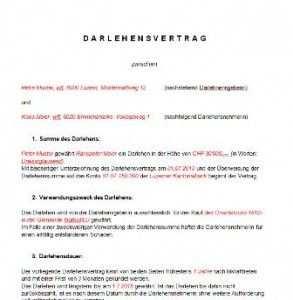 Darlehensvertrag Vorlage Schweiz Privatdarlehen Vorlagen
