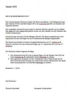 Revisorenbericht Verein Vorlage Vorlagen Verein Arbeitszeugnis