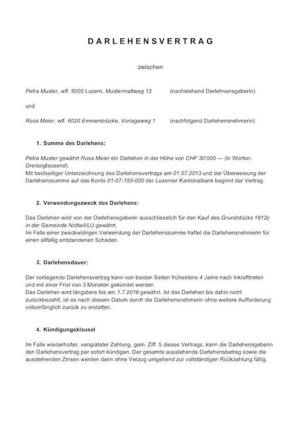 Darlehensvertrag Vorlage Schweiz Privatdarlehen Gratis Vorlage