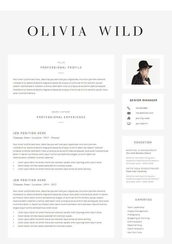 Resume Template 5 Pages Cv Template Cover Letter References