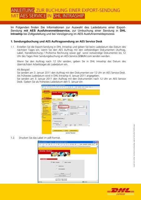 Anleitung Sendungsbuchung Mit Dhl Intraship Inkl Aes Service