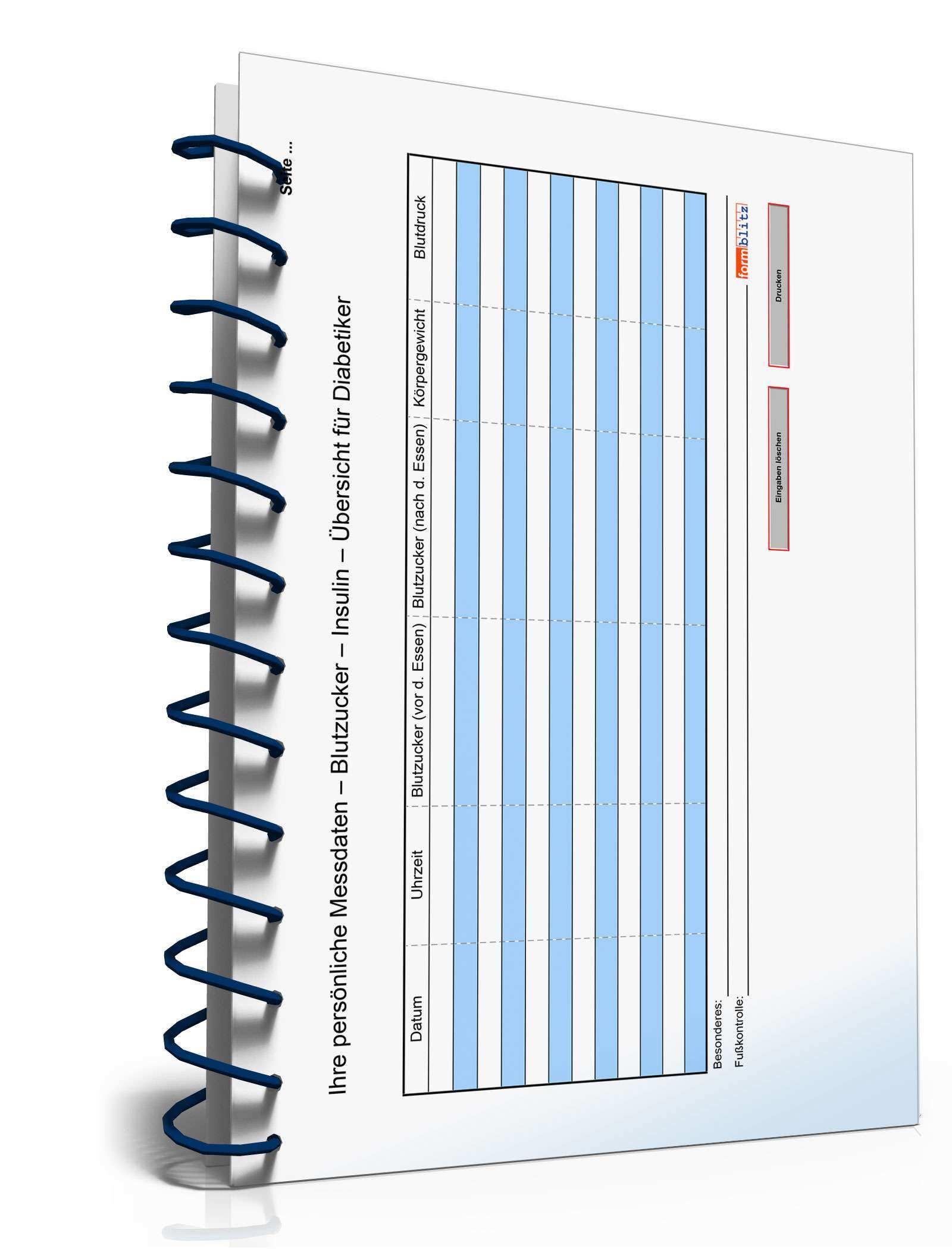 Diabetiker Tagebuch Tabelle Zum Download