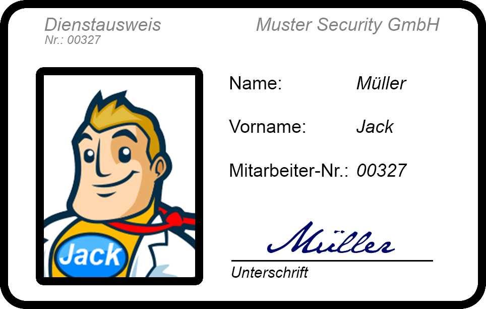 Der Perfekte Dienstausweis Fur Sicherheitsdienste 34a Jack De