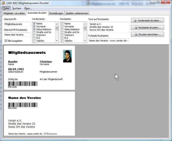 Mitgliedsausweis Drucker Download