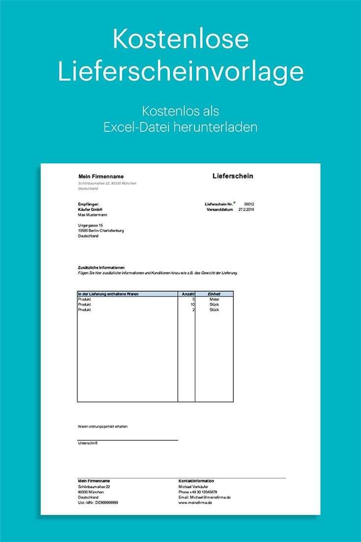 Lieferschein Vorlage Kostenlos Fur Excel Mit Anleitung Vorlagen