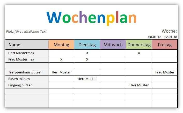 Wochenplan Vorlage Fur Excel In 2020 Wochenplan Vorlage