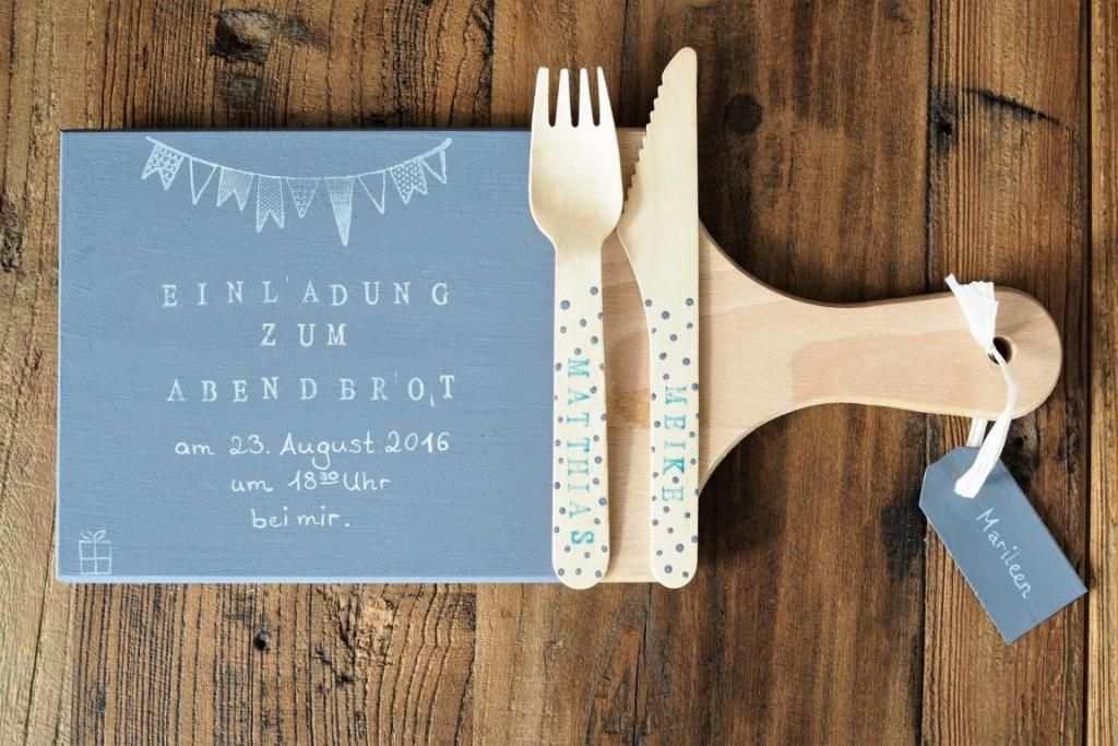 Einladung Zum Abendbrot Per Holzbrettchen Gutschein Basteln