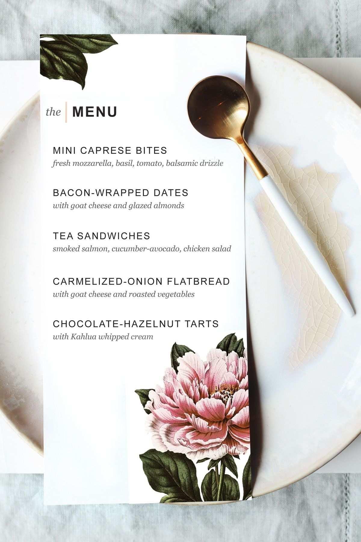 Printable Dinner Party Menu Template Hochzeitsmenu Vorlage