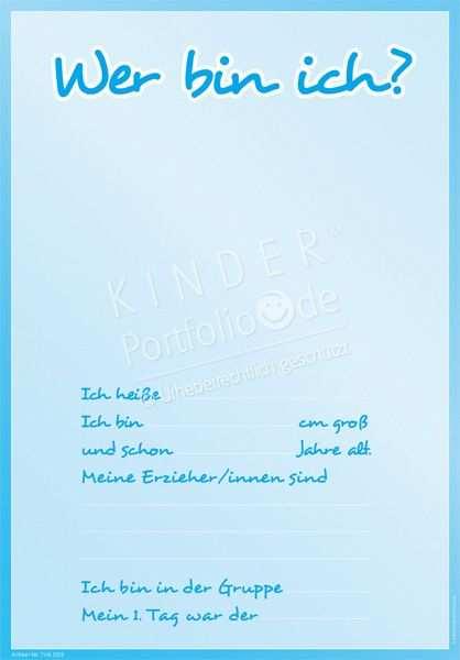Kindergarten Portfolio Vorlagen Wer Bin Ich Portfolio