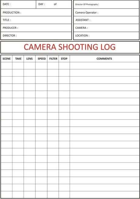 Camera Shooting Log Camera Shooting Log Sheet Filmemachen Filme