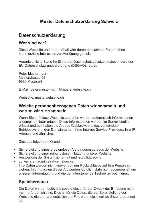 Datenschutzerklarung Schweiz Muster Vorlage Gratis Muster Vorlage Ch