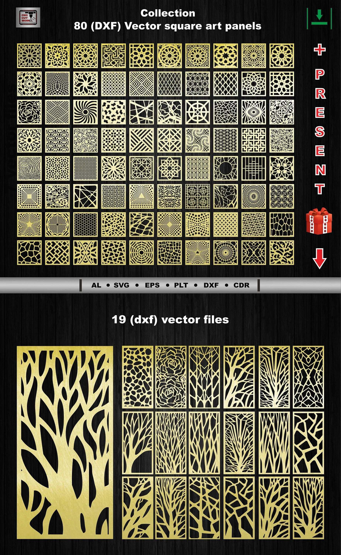 80 Dekorative Quadratische Vektor Kunstplatten Dxf Ai Svg Eps Dwg