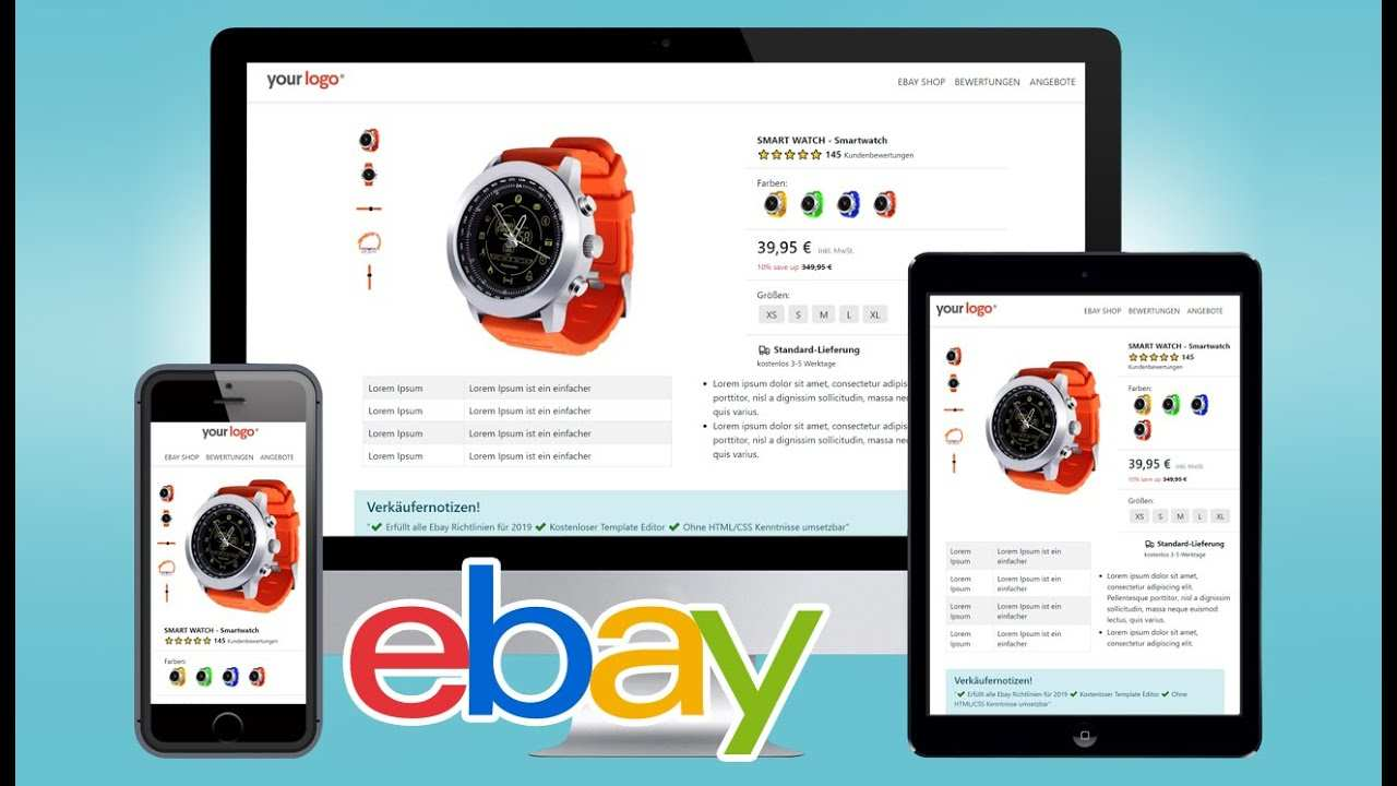 Free Ebay Listing Template Html Mobile Responsive Design 2019 Ebay