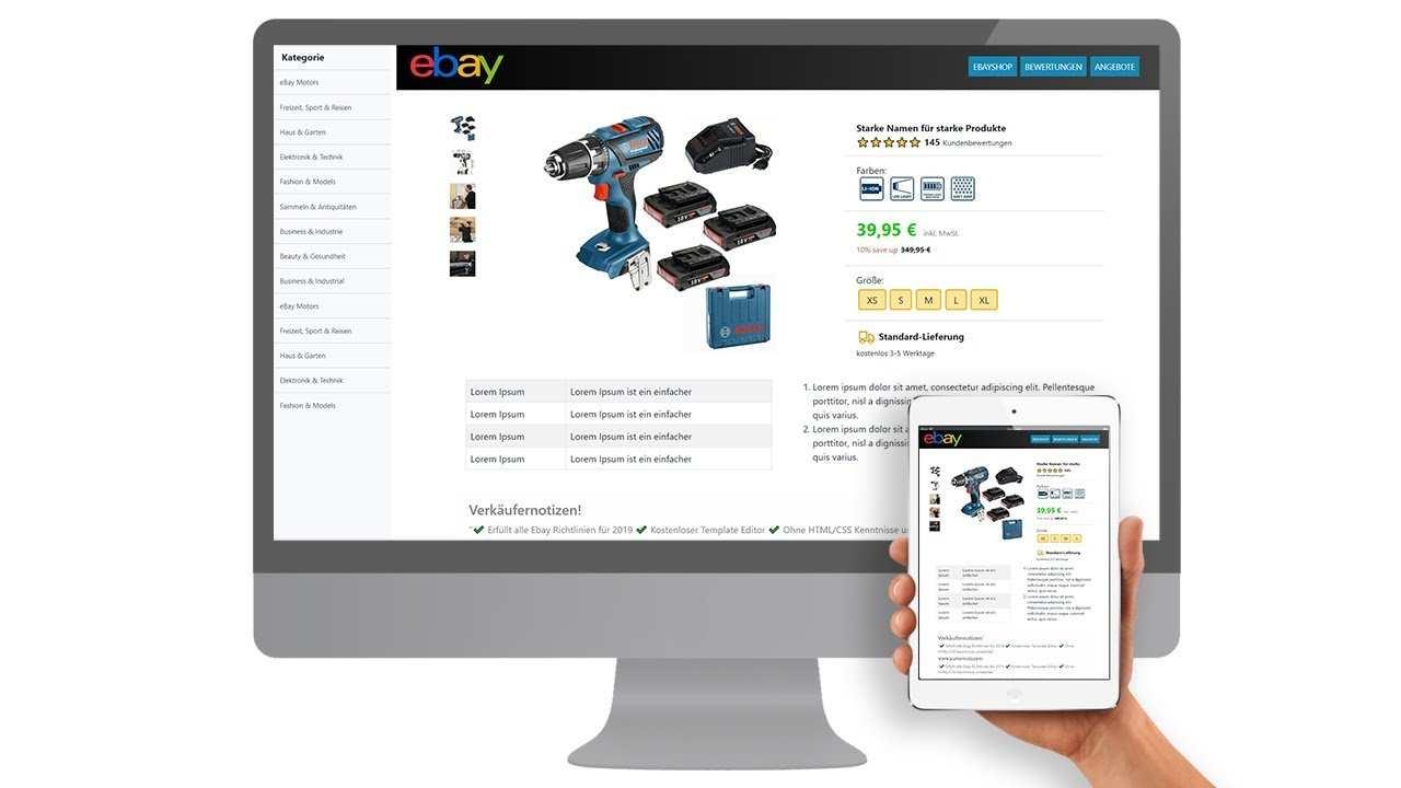 Free Ebay Template Listing Template Html Mobile Responsive Design