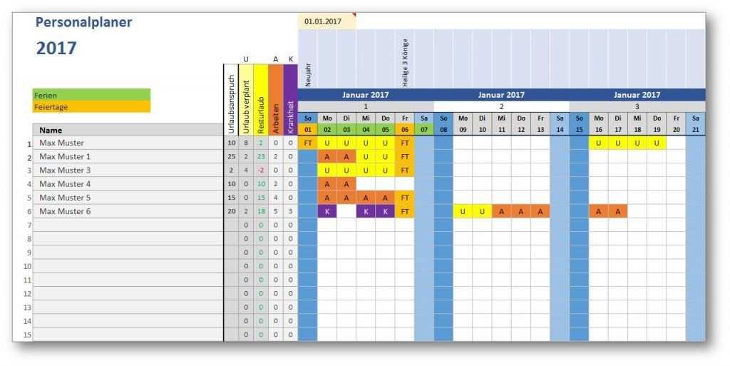 Excel Vorlage Personalplaner Mit Bildern Excel Vorlage