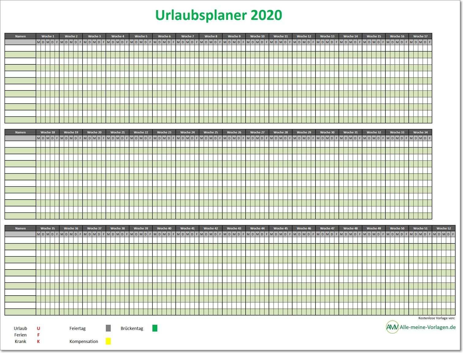 Einfacher Urlaubsplaner 2020 Einfacher Ferienplaner 2020 Planer