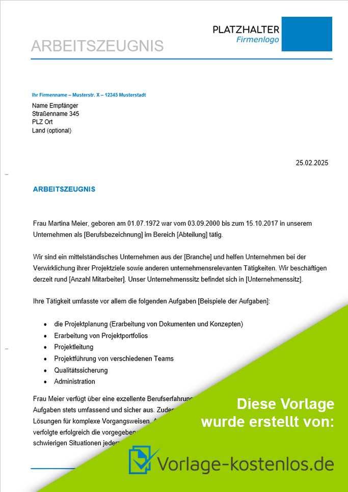 Arbeitszeugnis Muster Kostenlose Word Vorlage Zum Download