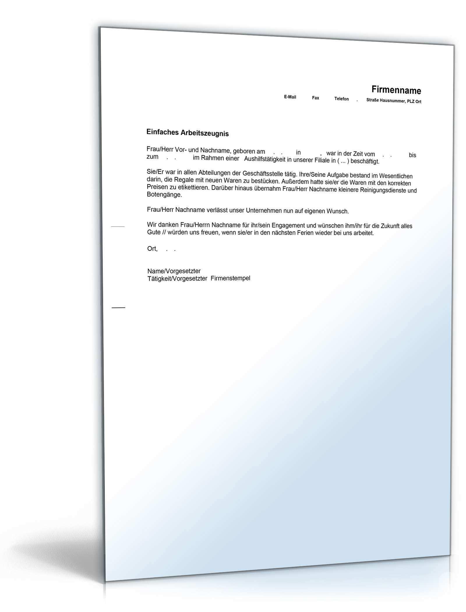Einfaches Arbeitszeugnis Aushilfskrafte Muster Zum Download