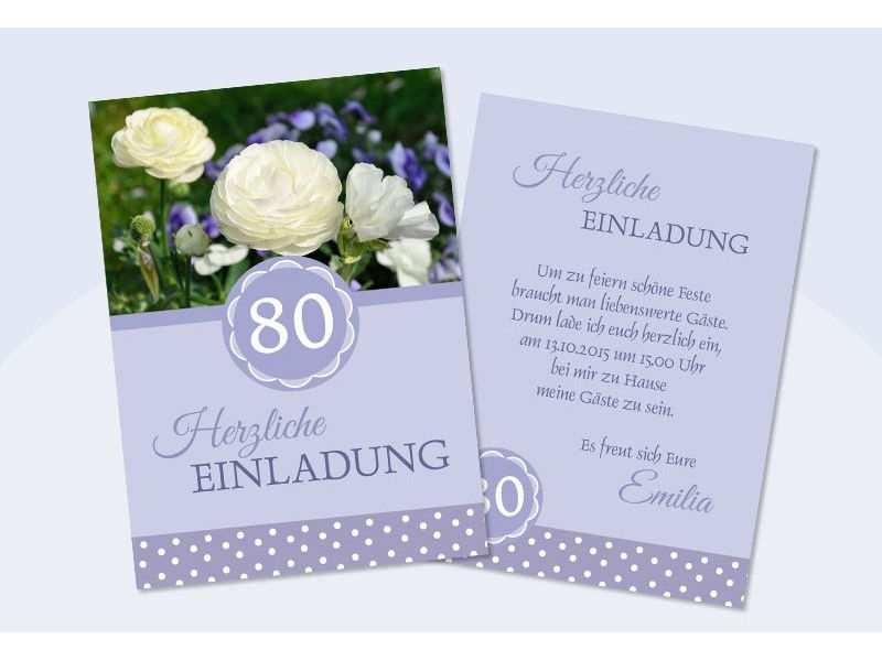 Einladungskarten 80 Geburtstag Kostenlos Ausdrucken Di 2020
