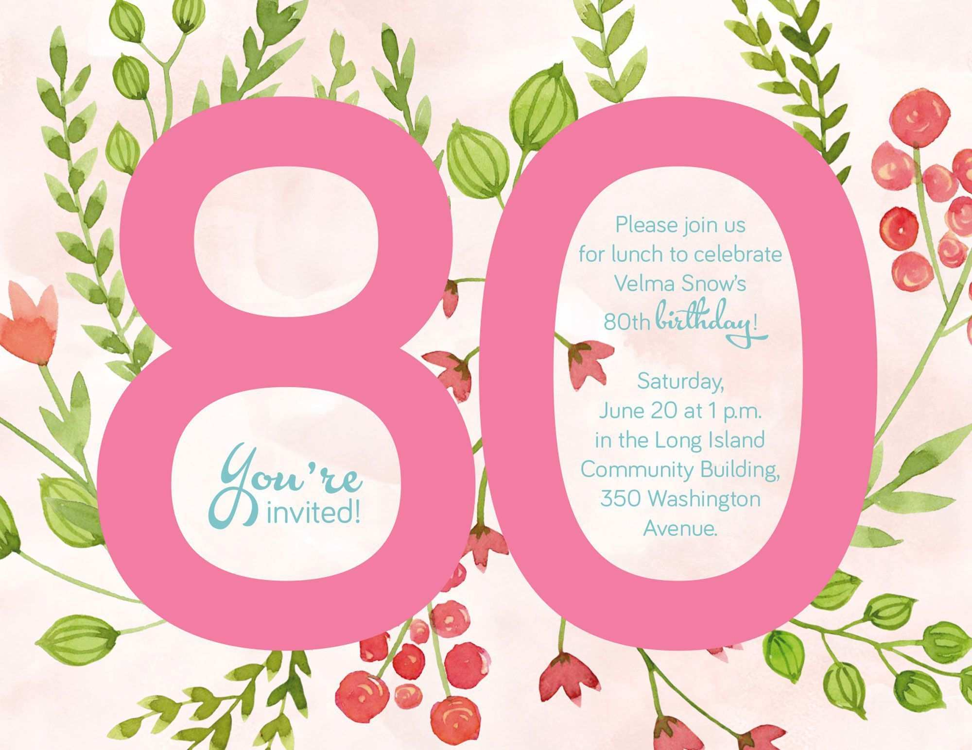 80 Geburtstag Einladung Einladung Geburtstag Geburtstag