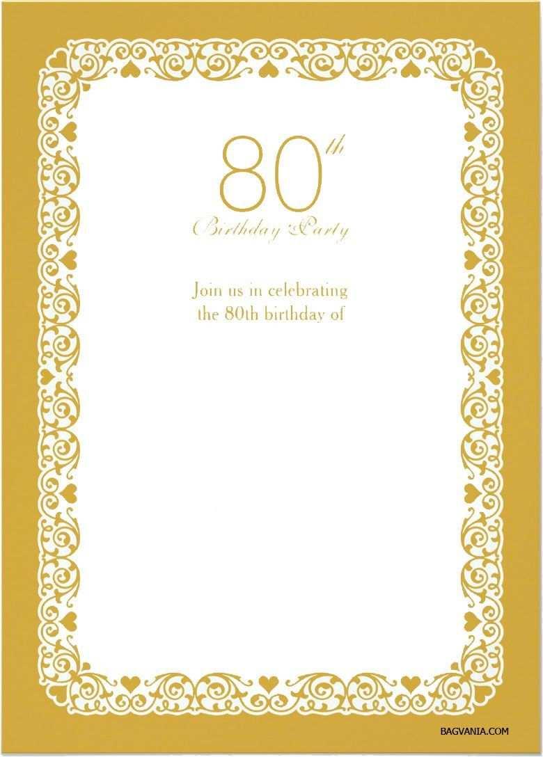 Einladung Zum 80 Geburtstag Vorlagen Gratis 80th Birthday