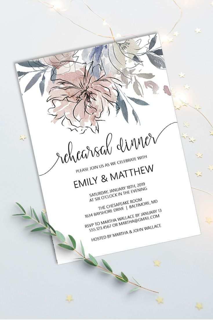 Blumenprobe Abendessen Einladungs Schablone Dinner Invitation