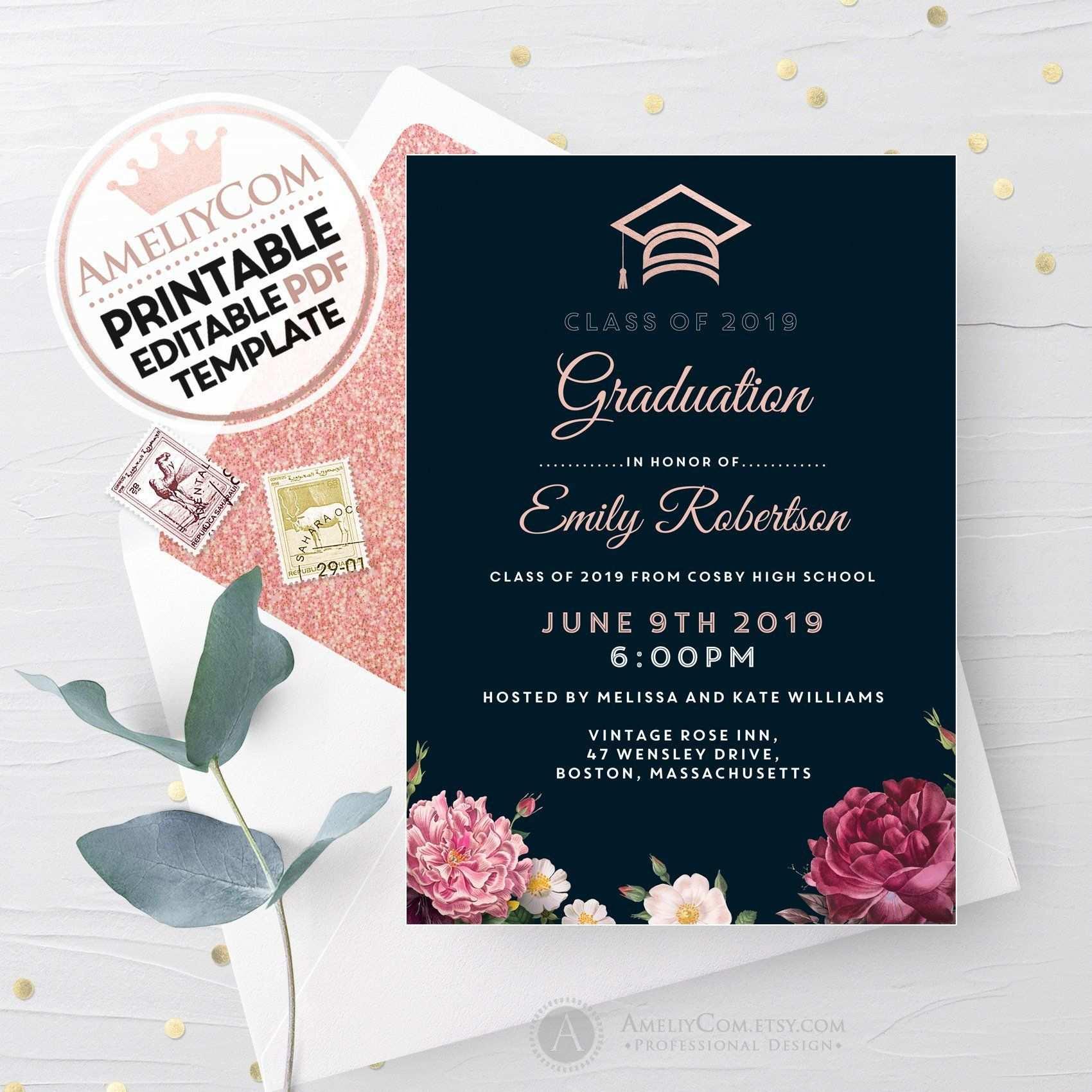 Druckbare Schwarze Graduation Einladung Einladung Floral Ad
