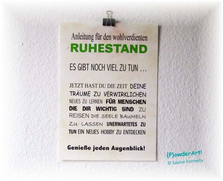 Motiv Text Anleitung Fur Den Wohlverdienten Ruhestand No 1 In