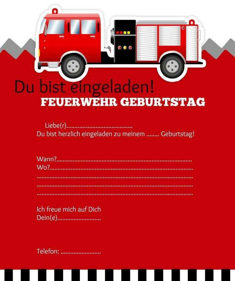 Einladung Kindergeburtstag Feuerwehr Vorlage Einladungskarten
