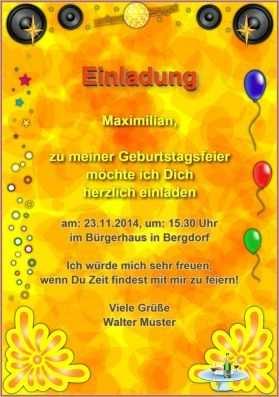 Vordefinierte Vorlage Einer Geburtstagseinladung Http Www