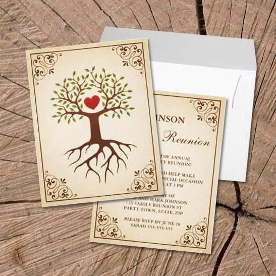 Baum Mit Herz Familientreffen Einladungen Familientreffen
