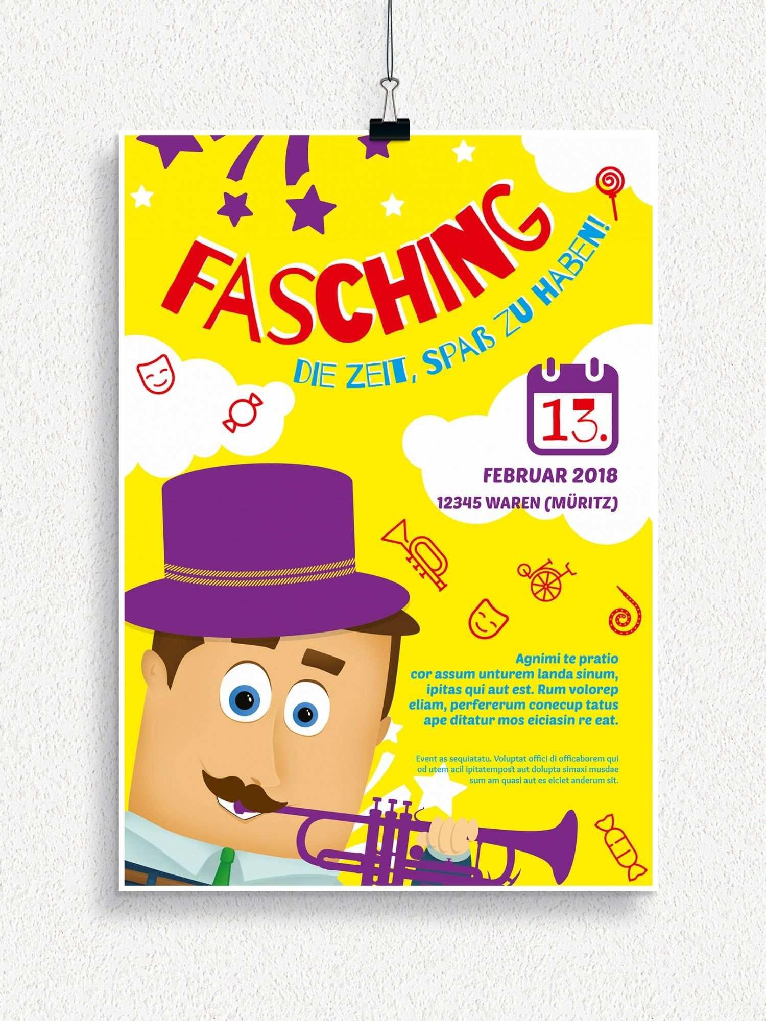 Plakat Und Flyervorlagen Fur Karneval Und Fasching Einladung