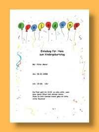 Vorlage Einladung Kindergeburtstag Vorlage Einladung