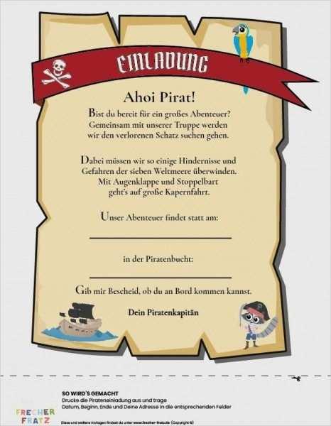 Piratenparty Einladung Vorlage Piratengeburtstag Einladung