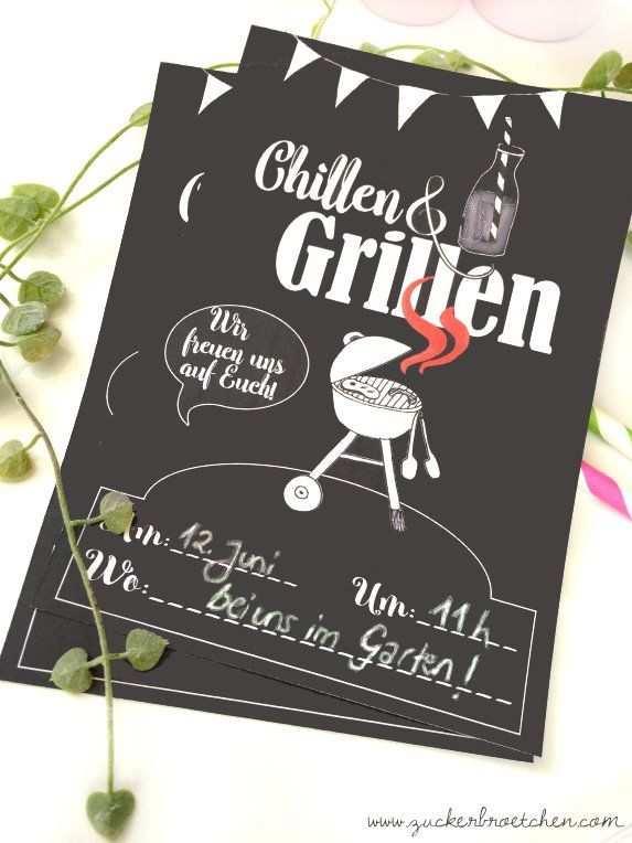 Einladung Zum Chillen Grillen Freebie Einladungen