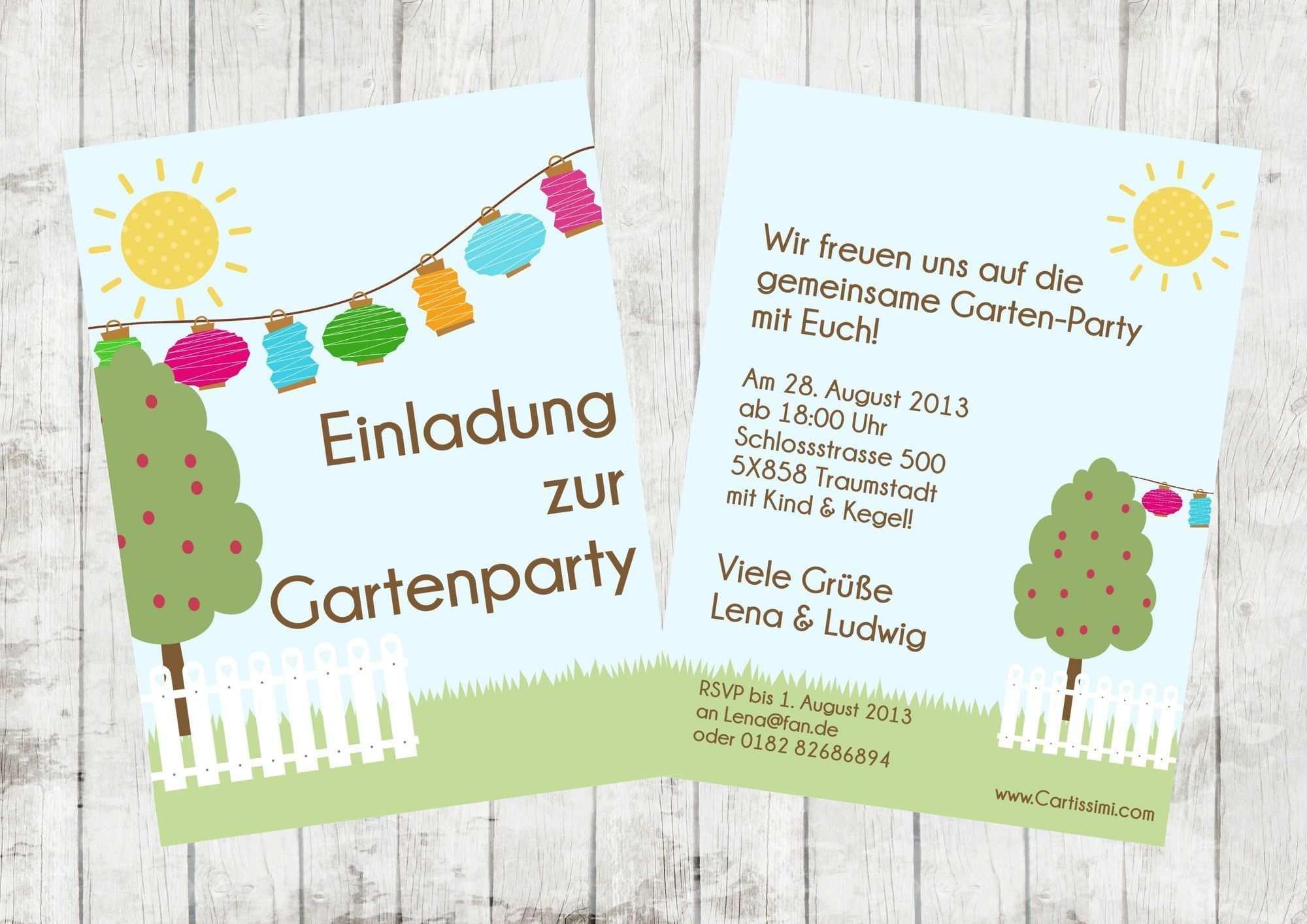 Einladung Gartenparty 30 Geburtstag Einladung Gartenparty Selbst