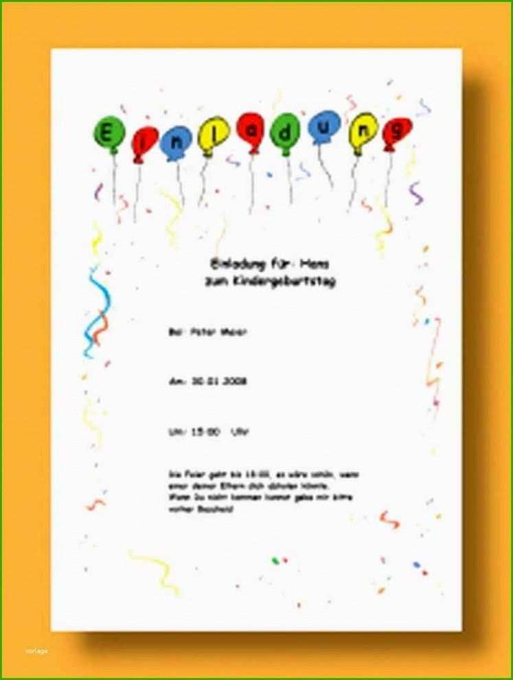 Vorlagen Einladung Zum Kindergeburtstag Best Of Einladung