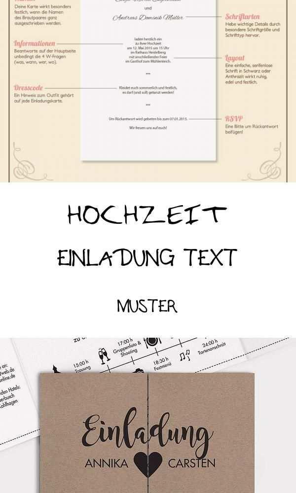 Best 11 Hochzeit Einladung Text Muster Di 2020