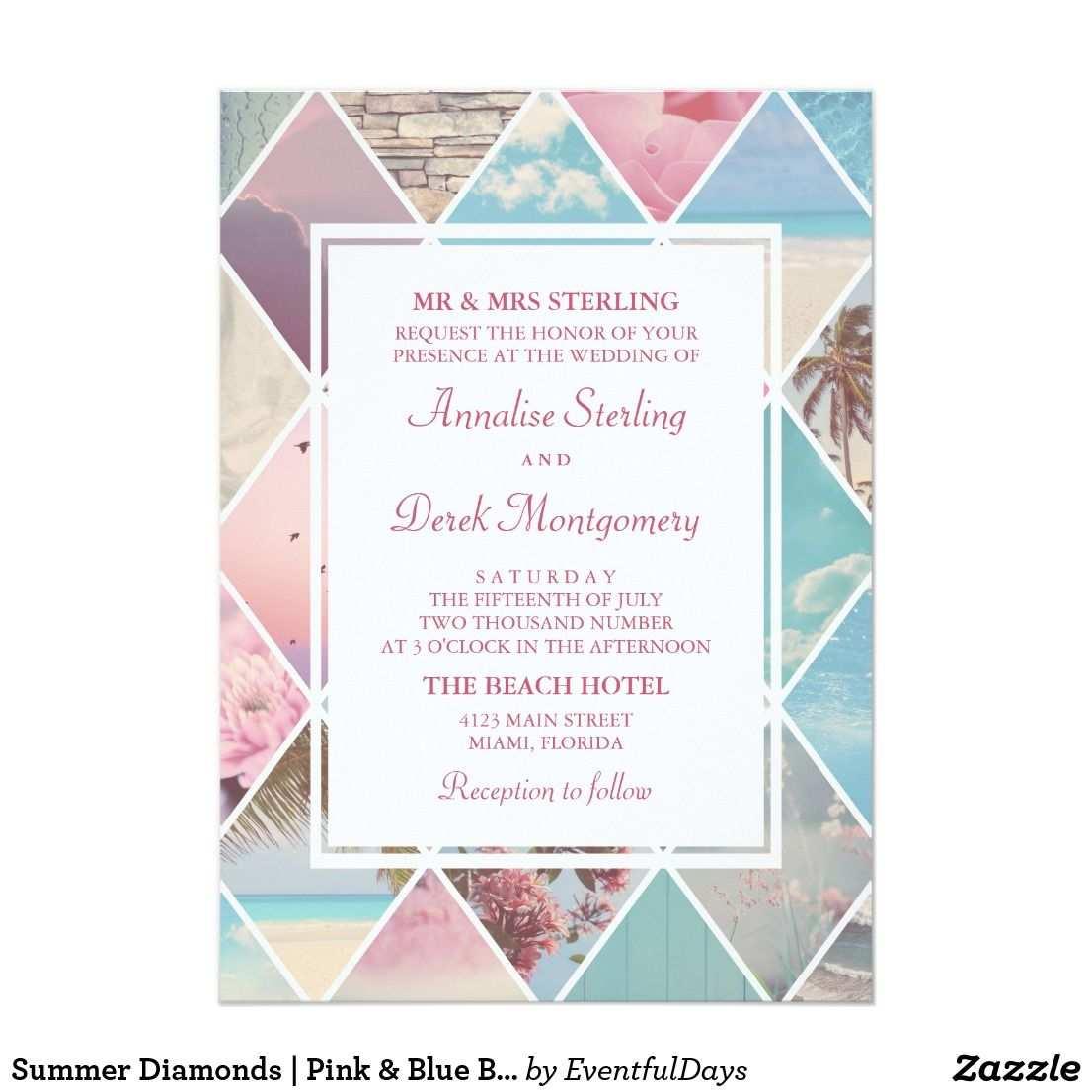 Sommer Diamanten Rosa U Blaue Strand Hochzeit Einladung