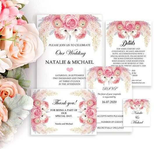 Flieder Und Rosen Hochzeitseinladung Set Einladung Hochzeit