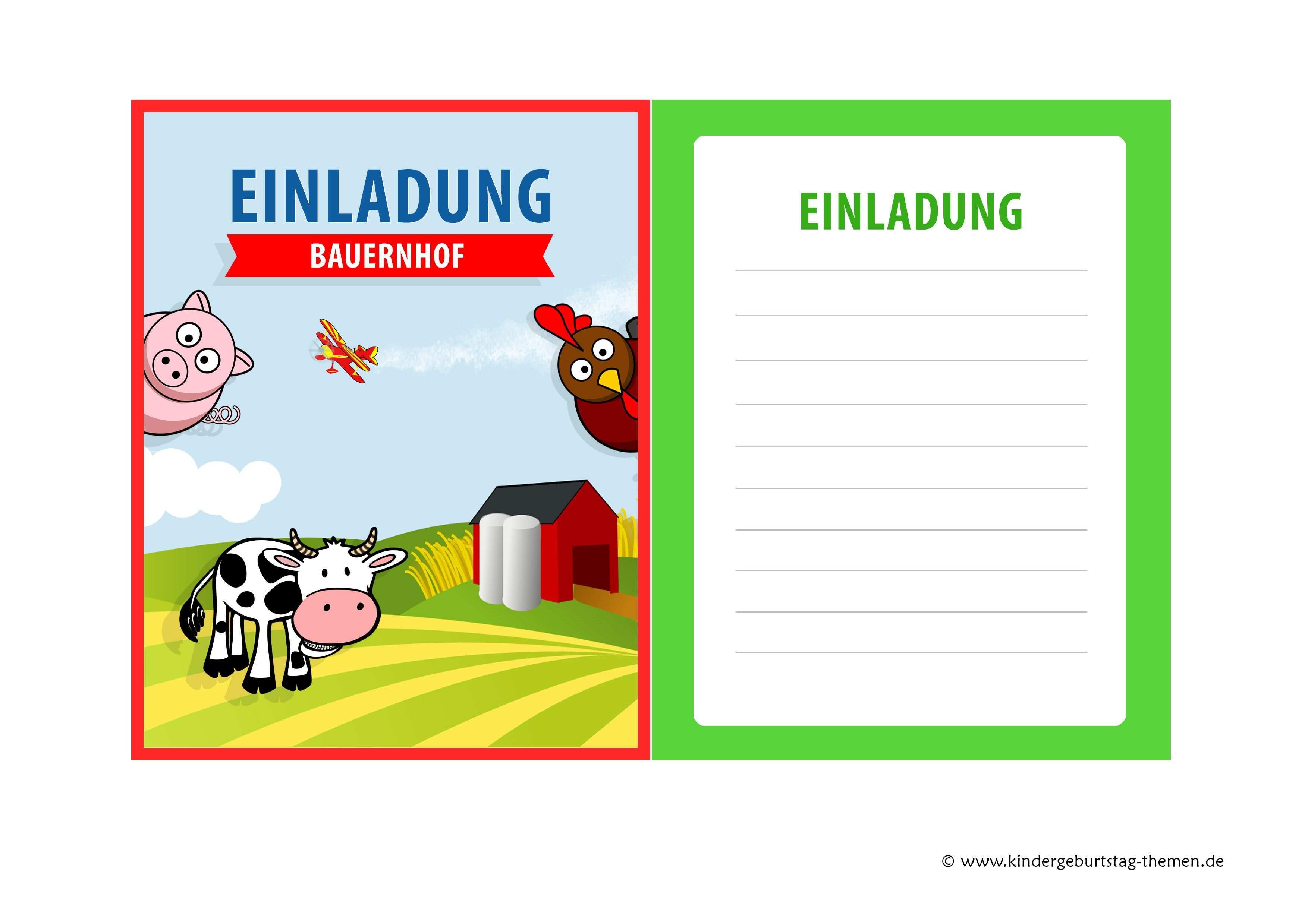 Tolle Einladungen Zum Kindergeburtstag Bauernhof Einladung
