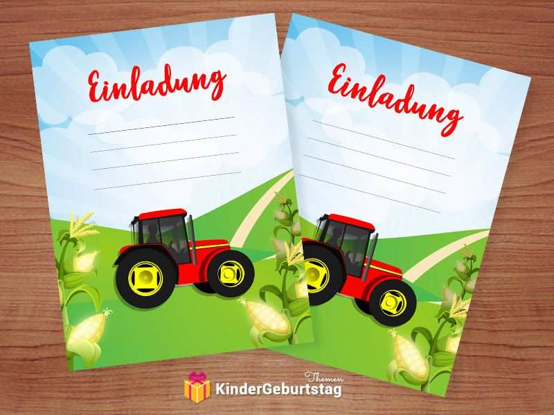 Traktor Einladung Selbst Basteln Kostenlose Druckvorlagen