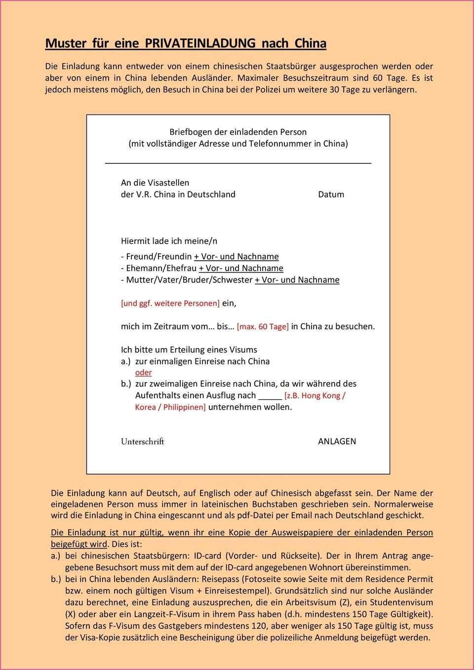 Einladung Nach Deutschland Vorlage