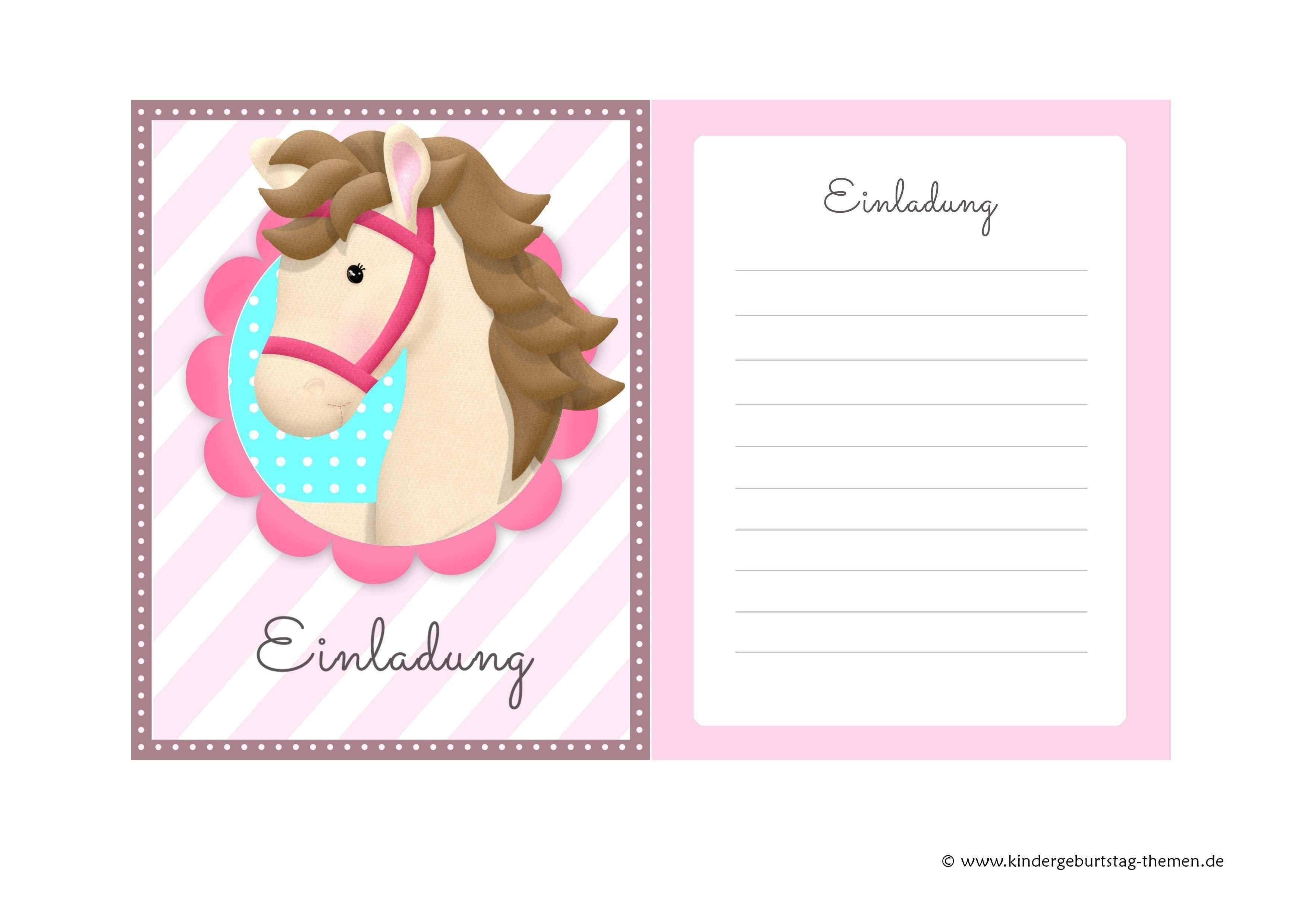 Vorlage Einladung Kindergeburtstag Pferd Vorlage Einladung