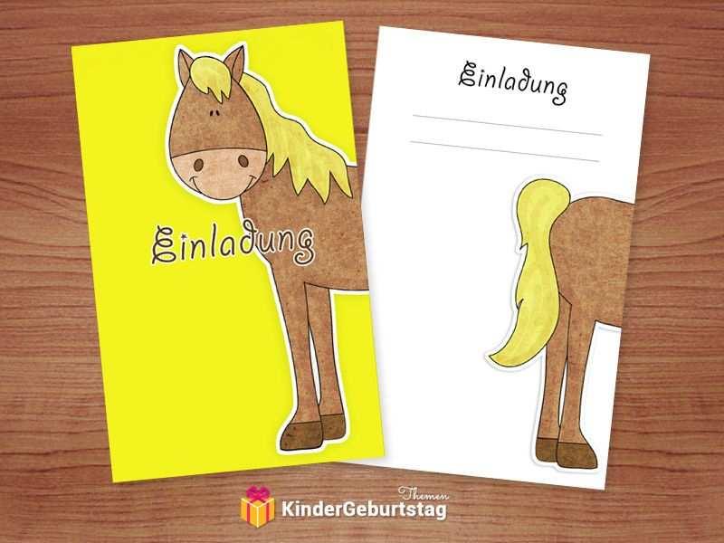 Einladungskarten Pferde Zum Kindergeburtstag Kostenlose Vorl